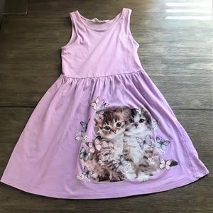 H&M Purple Girls Cat Dress 6-8Y